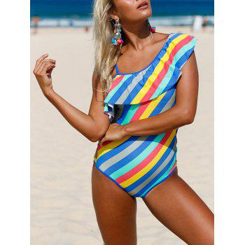 Ruffle Striped Lace Up Swimsuit - COLORMIX L