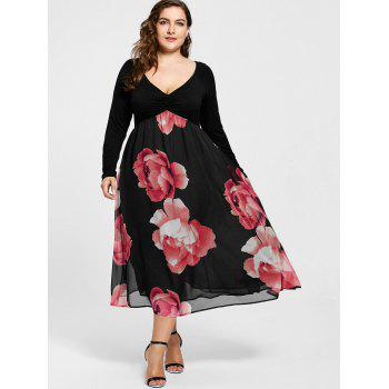 Plus Size Floral Print Empire Waist Midi Dress - RED 5XL