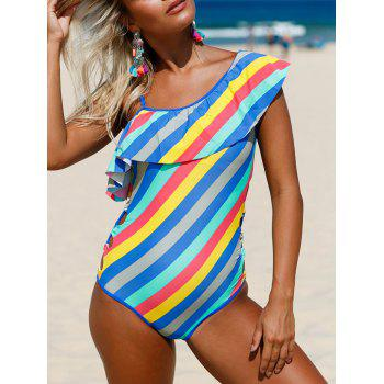 Ruffle Striped Lace Up Swimsuit - COLORMIX COLORMIX