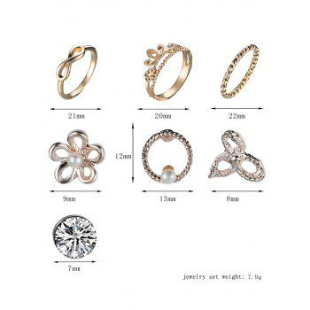 Faux Pearl Flower Earring and Infinite Ring Set - GOLDEN