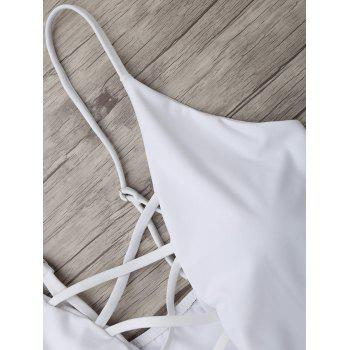 Criss Cross One Piece Swimsuit - WHITE WHITE