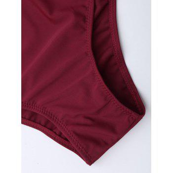 Criss Cross One Piece Swimsuit - WINE RED 2XL