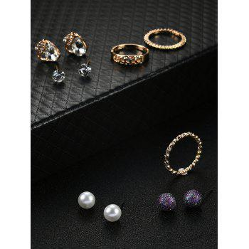 Faux Pearl Ball Leaf Earring and Ring Set -  GOLDEN