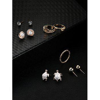 Faux Pearl Shell Tortoise Earring and Ring Set -  GOLDEN