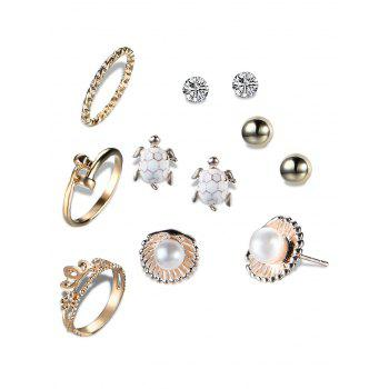 Faux Pearl Shell Tortoise Earring and Ring Set - GOLDEN GOLDEN
