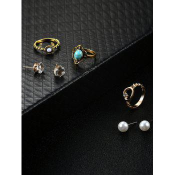Rhinestone Earring and Faux Turquoise Ring Set - GOLDEN