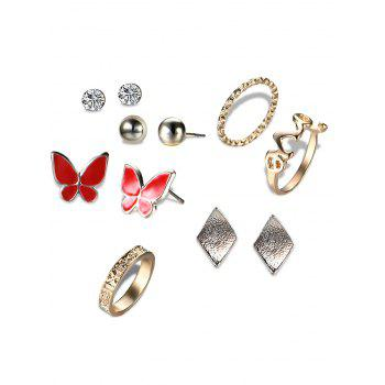 Rhinestone Butterfly Earring and Love Ring Set - GOLDEN GOLDEN