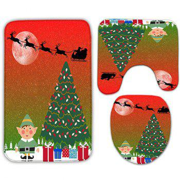 3PCS Christmas Graphic Flannel Toilet Rugs Set - RED