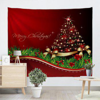 christmas tree bowknot print tapestry wall hanging art red w91 inch l71 inch