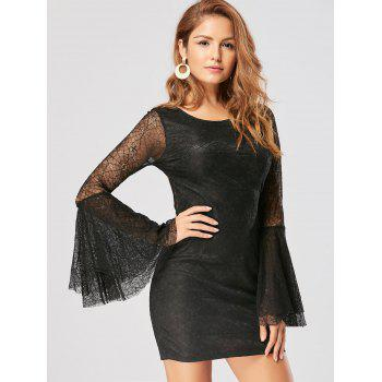 Skull Cut Out Lace Mini Bodycon Dress - BLACK S