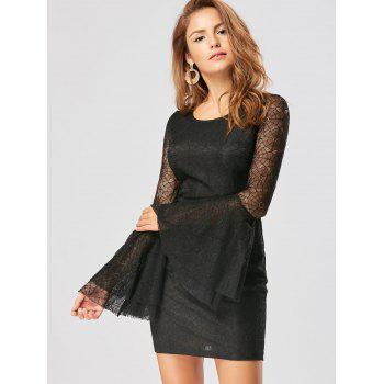 Skull Cut Out Lace Mini Bodycon Dress - BLACK L
