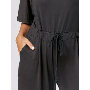 Drawstring Maxi Wide Leg Jumpsuit - BLACK 2XL