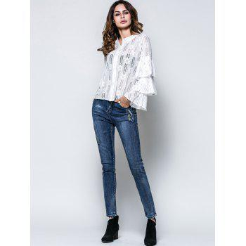 Layered Flare Sleeve Lace Top - WHITE M