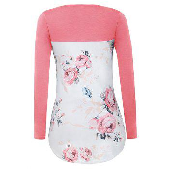 Crossed Floral Panel T Shirt - PINK L