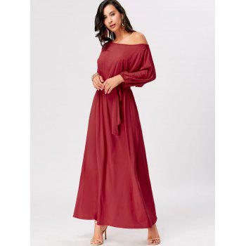 Boat Neck Belted Maxi Dress - RED XL