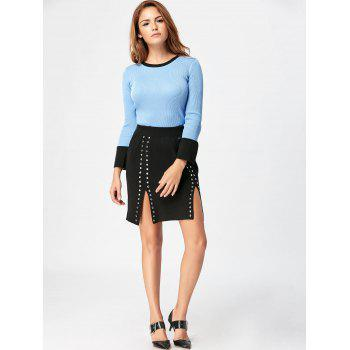 High Waist Knit Two Piece Bodycon Dress - BLUE/BLACK BLUE/BLACK