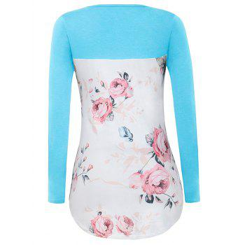 Crossed Floral Panel T Shirt - WINDSOR BLUE M