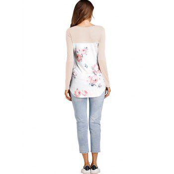 Crossed Floral Panel T Shirt - APRICOT M