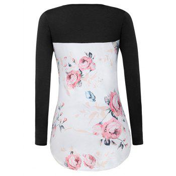 Crossed Floral Panel T Shirt - BLACK S