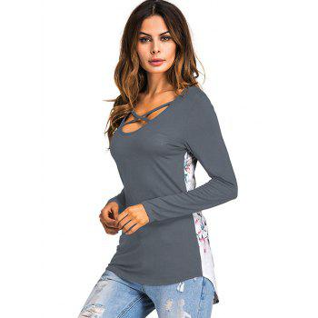 Crossed Floral Panel T Shirt - GRAY S