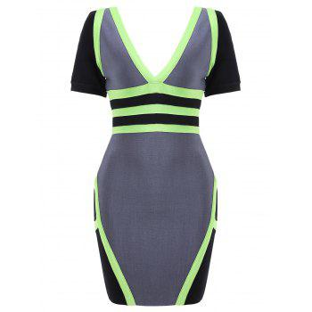 Short Sleeve Color Block Bandage Dress - GRAY M