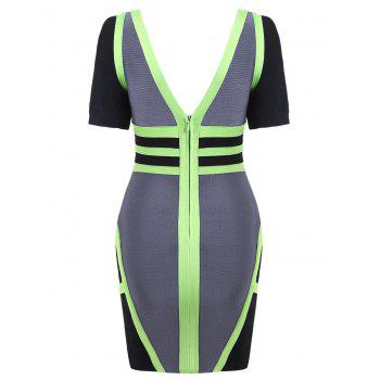 Short Sleeve Color Block Bandage Dress - M M
