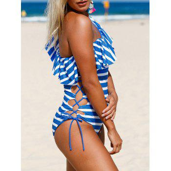Ruffle Striped Lace Up Swimsuit - BLUE/WHITE L