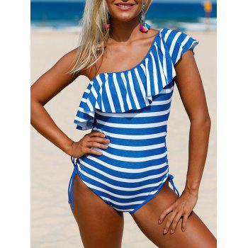 Ruffle Striped Lace Up Swimsuit - BLUE AND WHITE XL