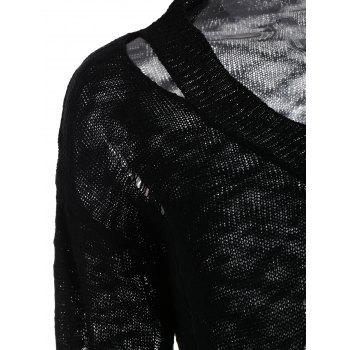 V Neck Destroyed Knitted Sweater - BLACK 2XL