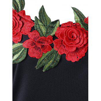 Embroidery Plus Size Flare Sleeve Bodycon Dress - BLACK 5XL