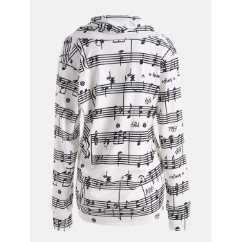 Musical Notes Printed Cowl Neck Sweatshirt - WHITE/BLACK XL