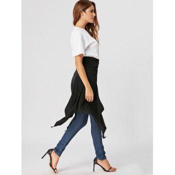 High Waist Front Slit Asymmetrical Skirt - BLACK M