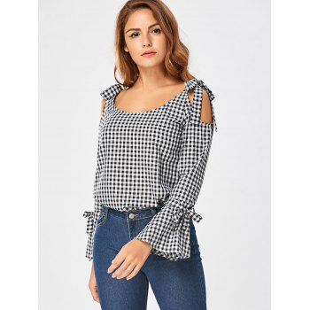 Tie Shoulder Flare Sleeve Gingham Blouse - BLACK WHITE XL