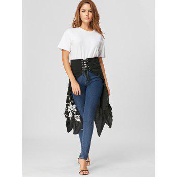 Lace Up Printed High Slit Midi Skirt - M M