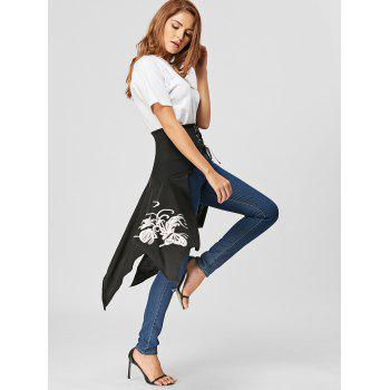 Lace Up Printed High Slit Midi Skirt - 2XL 2XL