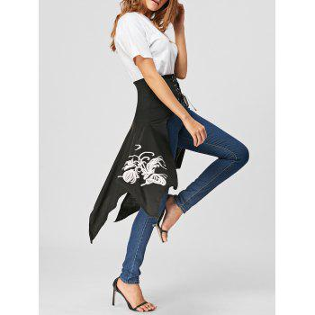 Lace Up Printed High Slit Midi Skirt - BLACK 2XL