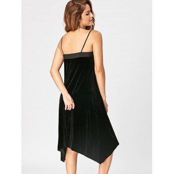 Open Back Velvet Slip Dress - BLACK BLACK