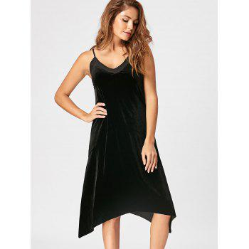 Open Back Velvet Slip Dress - BLACK XL
