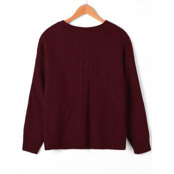 Cable Knit Keyhole Neck Sweater - WINE RED M