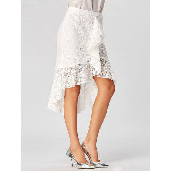 High Low Lace Skirt with Flounce - L L