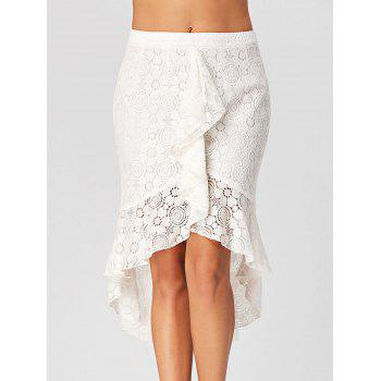High Low Lace Skirt with Flounce - WHITE L