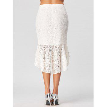 High Low Lace Skirt with Flounce - WHITE WHITE