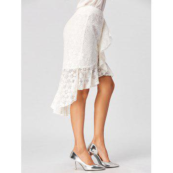 High Low Lace Skirt with Flounce - WHITE 2XL