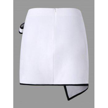 Patch Pocket Overlap Asymmetric Skirt - WHITE L