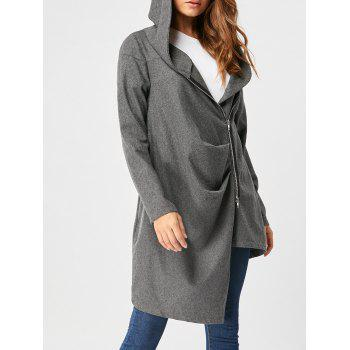 Hooded High Low Zippered Coat - DEEP GRAY M