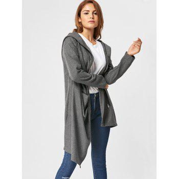 Hooded High Low Zippered Coat - M M