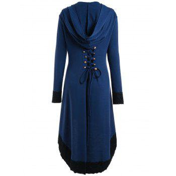 Lace-up Plus Size Hooded High Low Coat - BLUE XL