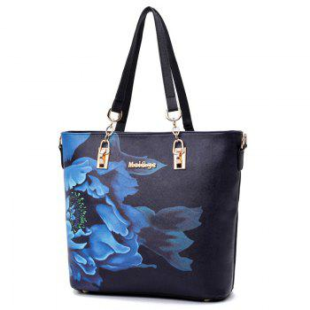 Flower Print 6 Pieces Shoulder Bag Set - BLACK