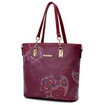 Flower Print 6 Pieces Shoulder Bag Set - WINE RED