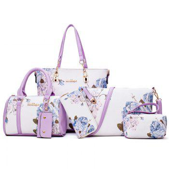 Flower Print 6 Pieces Shoulder Bag Set - PURPLE PURPLE